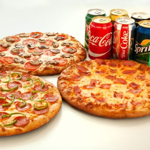 3 MEDIUM PIZZAS + DRINKS