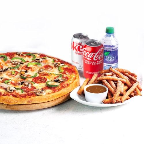 Pizza, boissons et dessert